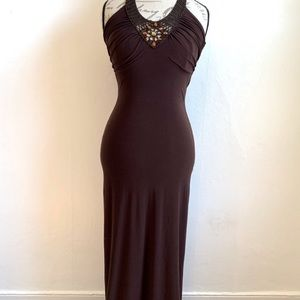 Brown Dress Gown Knit Tank Prom Taboo Bodycon